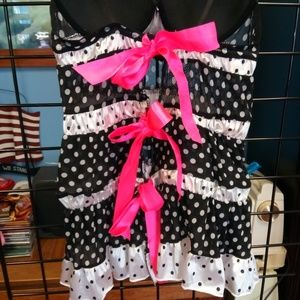 Black white polka dots with pink nightie sexy inte